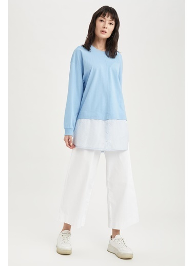 DeFacto Gömlek Detaylı Relax Fit Sweat Tunik Mavi